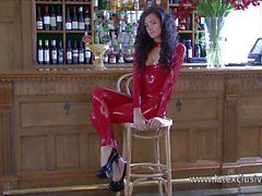 Latex barmaid Chloes teen rubber fetish and elegant longhair