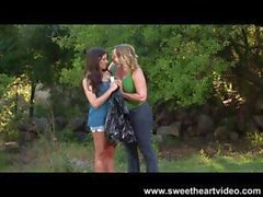 Magnificent brunette charity stuff with a weak velvet glove gets some lesbian action from a blonde