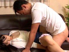 Jav Idol Yamakawa Yun Ambushed On Sofa Gets Creampie