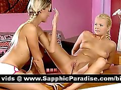 Sensual blonde lesbos licking and fingering pussy and having lesbo sex