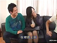 2 scenes of Asian censored porn: Toys, vibes, a couple fuck and a threesome