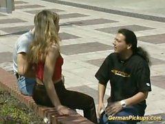 German Couple fucking with man watching