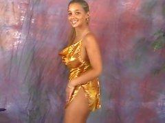 Christina model golden dress