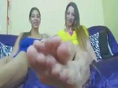 pair of big blonde feet of a yankee american girl duo