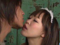 Sexy maid, Momoka Rin, pleases master with hardcore sex
