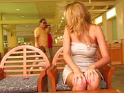 Blond hottie masturbating in public