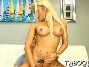 Lip smacking teen enjoys sucking her studs biggest cock