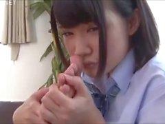 Lucky guy enjoys the dick stiffening aroma of Japanese teen sweaty feet