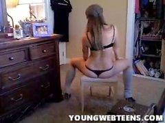 brunette teen in lingerie dancing home alone