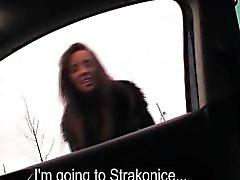 Stranded teen Gina rides a big dick