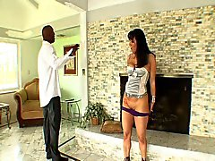 Horny young brunette fucked hard by new black stepdad