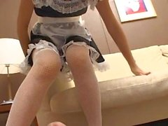 Chinese Maid give a soft shoejob