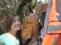 Amateur teens sharing lucky worker