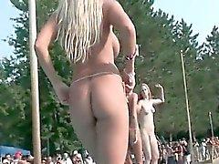 Several horny blonde stripper babes