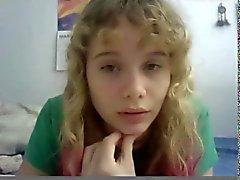 18yo blonde teen gets naked on webcam