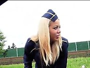 Stewardess Christen pounded in public and cum on ass