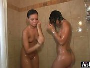 Sweet girls take a shower together