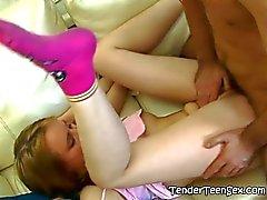 He unloads his semen in her cute mouth