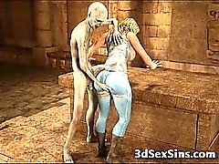 3D Zombies Jizz On Busty Teen!