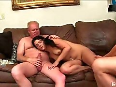 Hot brunette has naughty threesome with older guys
