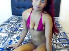 Asian girl striptease on webcam