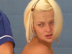 Blond girl punish spanking