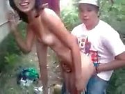 Latina Teen banged Outdoor by friends