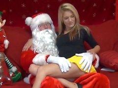 Santa empties his balls into a little cutie