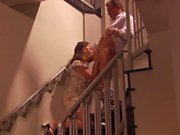 Randy spears sits her ass on a hard cock on the stair case