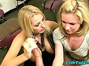 Blonde busty MILF shows teen how to give HJ
