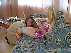 Russian teen chick gets pussy licked by horny man