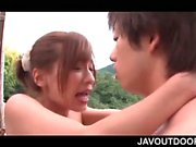 Outdoor Japanese sex with naked amateur busty redhead