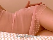 Pink pants and clit rubbing on a bed