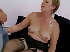 Granny fucks her young lover