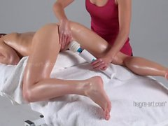 Vibrator orgasm massage for sexy brunette