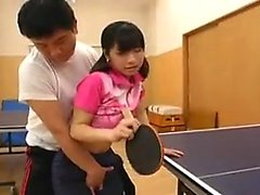 Skinny Asian gal rides on his prick, plays ping pong, then