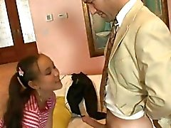 Young slut babysitter Amai Liu sucks her employer's hard eager cock stick