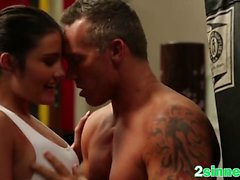 Brunette gym doggy style fucking big rod small tits