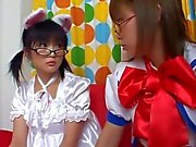 Super cute teen asian babes in costume teasing hard on camera