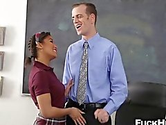Schoolgirl fucks her teacher on his desk for better grades