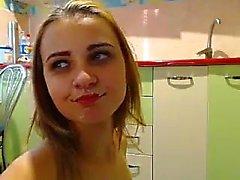 Amateur blonde teen receives a facial