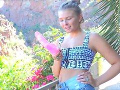 Melissa xxx solo teen blonde toys outside pool