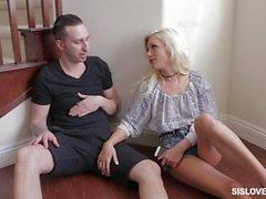Naughty Cameron Dee treat her big bro a great blow