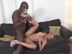 Pigtail Cutie Swallows Cum Hard Interracial Anal Sex