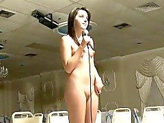 Petite lesbian babe stripping down