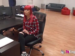 Pink haired teen makes casting with Jordi