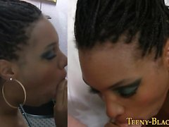 Busty black teen spunked