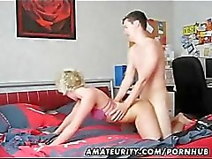 Mature amateur wife homemade blowjob and fuck with a young guy
