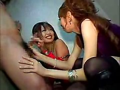Two pretty young skanks take this horny dude's dick in thei