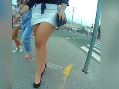 teen thick legs in miniskirt